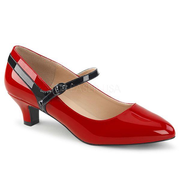 Mary Jane Lack Pumps rot mit schwarzem Lackriemchen FAB-425